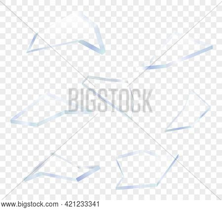 Shards Of Broken Sharp Glass Pieces With Transparency. Vector Cracked Elements.