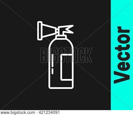 White Line Fire Extinguisher Icon Isolated On Black Background. Vector
