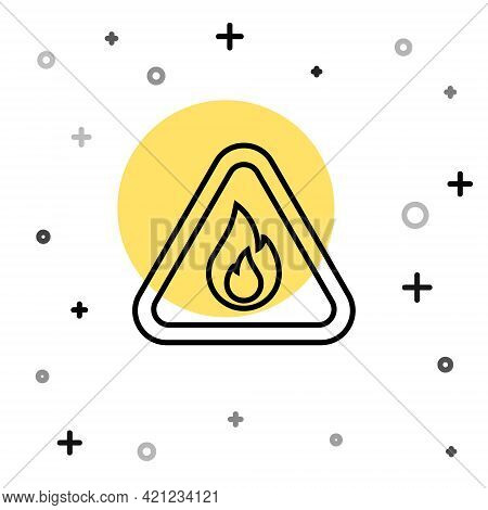 Black Line Fire Flame In Triangle Icon Isolated On White Background. Warning Sign Of Flammable Produ