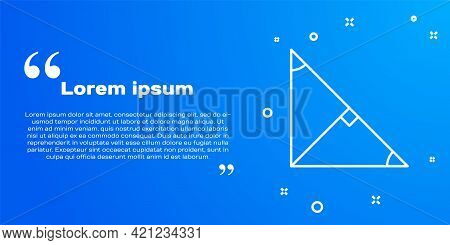 White Line Angle Bisector Of A Triangle Icon Isolated On Blue Background. Vector