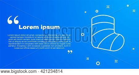 White Line Gypsum Cast Medical Health Broken Leg Icon Isolated On Blue Background. Vector