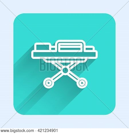 White Line Stretcher Icon Isolated With Long Shadow. Patient Hospital Medical Stretcher. Green Squar
