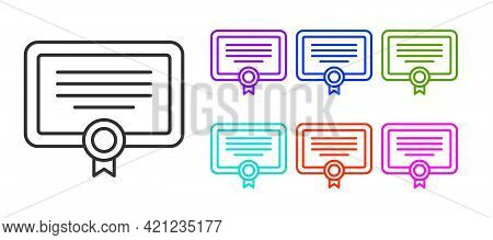 Black Line Certificate Template Icon Isolated On White Background. Achievement, Award, Degree, Grant