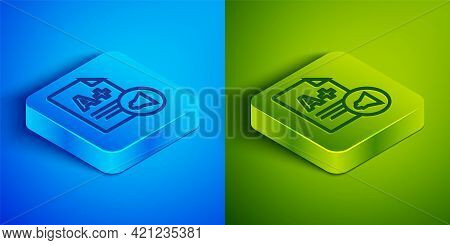 Isometric Line Exam Sheet With A Plus Grade Icon Isolated On Blue And Green Background. Test Paper,