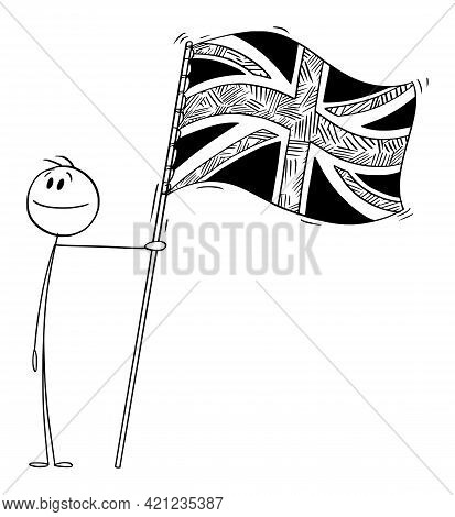 Proud Patriotic Person Holding Flag Of United Kingdom Of Great Britain, Vector Cartoon Stick Figure