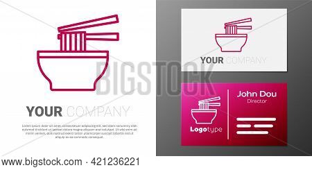 Logotype Line Asian Noodles In Bowl And Chopsticks Icon Isolated On White Background. Street Fast Fo