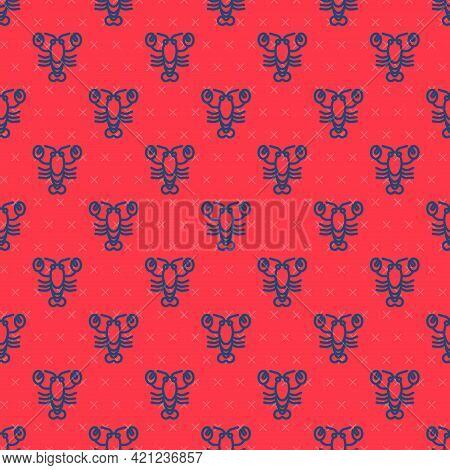 Blue Line Lobster Icon Isolated Seamless Pattern On Red Background. Vector