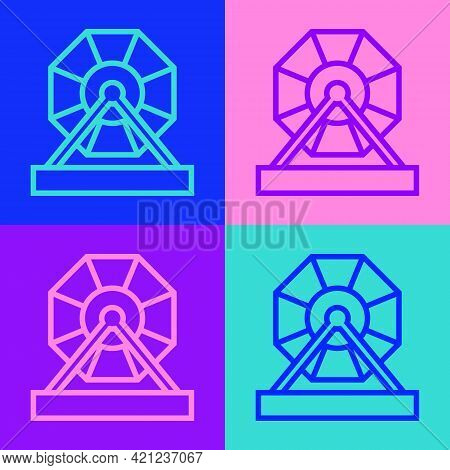 Pop Art Line Lottery Machine Icon Isolated On Color Background. Lotto Bingo Game Of Luck Concept. Wh