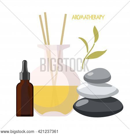 Aromatherapy Set. Glass Aroma Diffuser With Yellow Liquid, Essential Oil In Bottle, Herb, Balance St