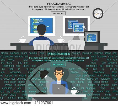 Programmer Horizontal Banner Set With Program Code Elements Isolated Vector Illustration