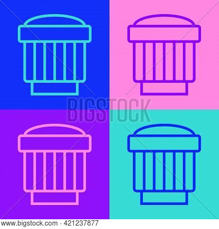 Pop Art Line Camera Photo Lens Icon Isolated On Color Background. Vector