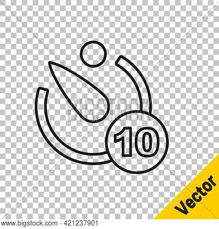 Black Line Camera Timer Icon Isolated On Transparent Background. Photo Exposure. Stopwatch Timer 10