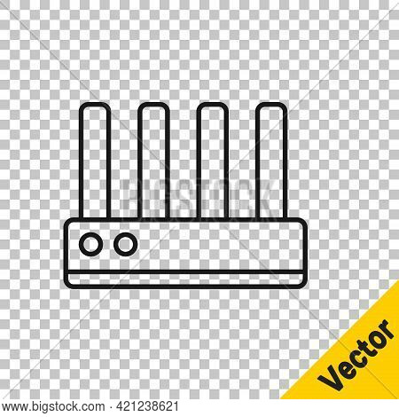 Black Line Router And Wi-fi Signal Icon Isolated On Transparent Background. Wireless Ethernet Modem