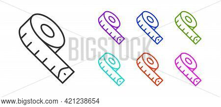 Black Line Measuring Tape Icon Isolated On White Background. Tape Measure. Set Icons Colorful. Vecto