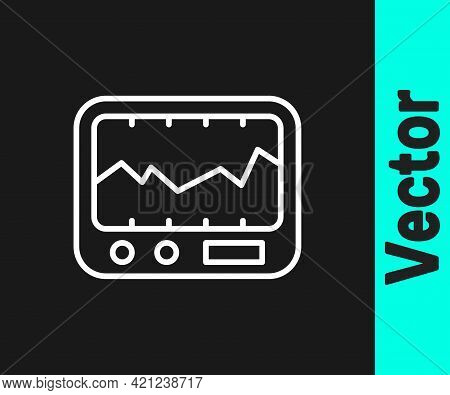 White Line Electrical Measuring Instrument Icon Isolated On Black Background. Analog Devices. Measur