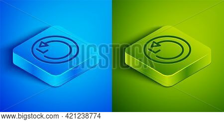 Isometric Line Radius Icon Isolated On Blue And Green Background. Square Button. Vector
