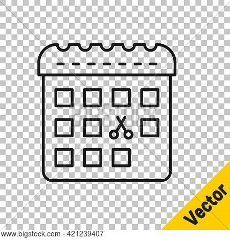 Black Line Calendar With Haircut Day Icon Isolated On Transparent Background. Haircut Appointment Co