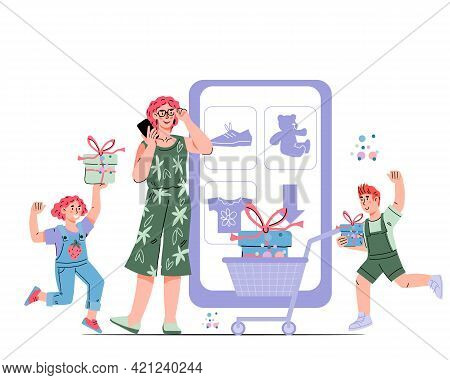 Mother And Kids Shopping Online, Cartoon Vector Illustration Isolated On White Background. Family Bu