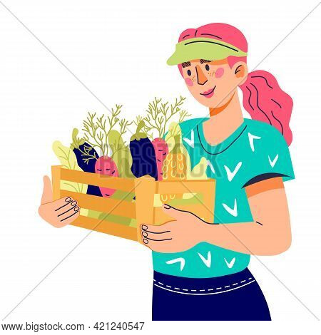 Woman Farmer Holding Fresh Vegetables. Local Organic And Farm Production, Cartoon Vector Illustratio