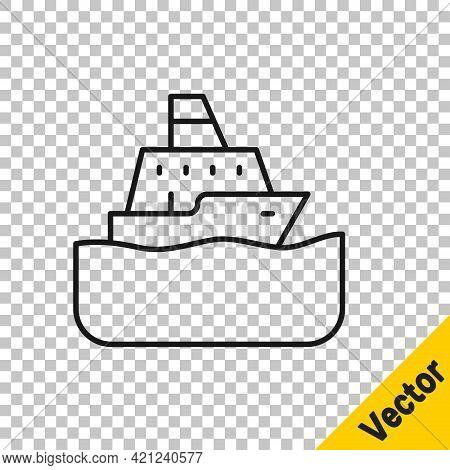 Black Line Cruise Ship Icon Isolated On Transparent Background. Travel Tourism Nautical Transport. V
