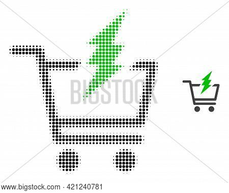 Proceed Purchase Halftone Dot Icon Illustration. Halftone Pattern Contains Circle Dots. Vector Illus