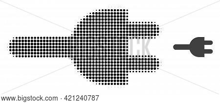 Electric Plug Halftone Dot Icon Illustration. Halftone Pattern Contains Circle Points. Vector Illust