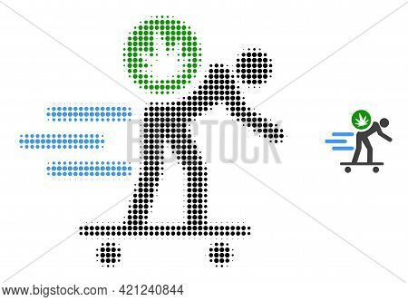 Express Cannabis Courier Halftone Dotted Icon Illustration. Halftone Array Contains Circle Pixels. V