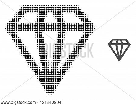 Diamond Halftone Dotted Icon Illustration. Halftone Array Contains Circle Dots. Vector Illustration