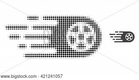 Tire Wheel Halftone Dotted Icon Illustration. Halftone Pattern Contains Round Pixels. Vector Illustr