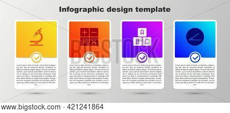 Set Microscope, Calculator, Abc Blocks And Acute Angle. Business Infographic Template. Vector