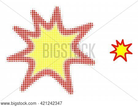 Exploding Boom Halftone Dot Icon Illustration. Halftone Pattern Contains Round Elements. Vector Illu