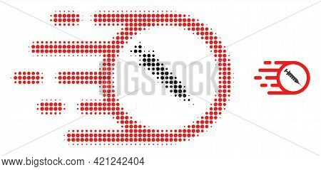 Rush Vaccine Halftone Dotted Icon Illustration. Halftone Pattern Contains Round Points. Vector Illus
