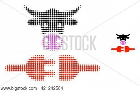 Farm Power Supply Halftone Dotted Icon Illustration. Halftone Pattern Contains Circle Points. Vector