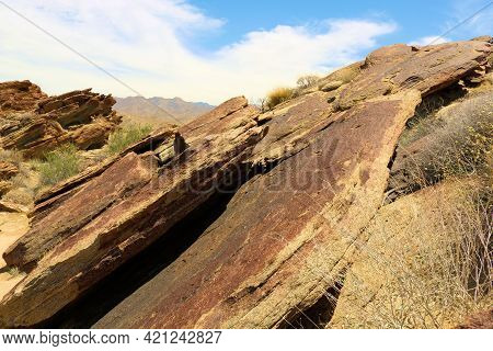 Rocks And Boulders On An Eroded Landscape Taken At The Arid Colorado Desert In The Indian Canyons Ne
