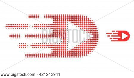 Play Function Halftone Dot Icon Illustration. Halftone Pattern Contains Circle Elements. Vector Illu