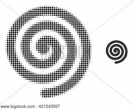 Hypnosis Spiral Halftone Dot Icon Illustration. Halftone Array Contains Round Points. Vector Illustr