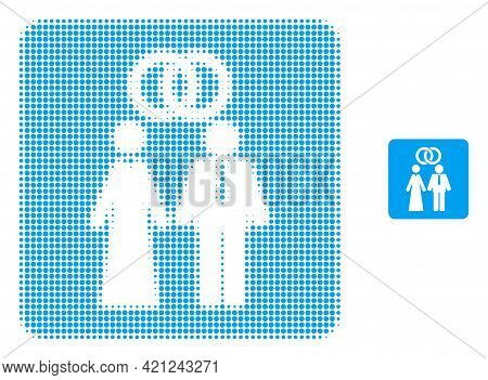 Marriage Persons Halftone Dot Icon Illustration. Halftone Array Contains Circle Pixels. Vector Illus
