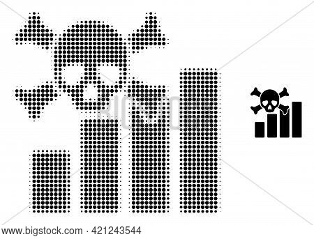 Death Chart Halftone Dotted Icon Illustration. Halftone Array Contains Round Pixels. Vector Illustra