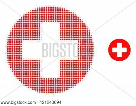 Medical Cross Halftone Dotted Icon Illustration. Halftone Pattern Contains Circle Pixels. Vector Ill