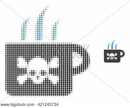 Poison Tea Halftone Dot Icon Illustration. Halftone Pattern Contains Circle Points. Vector Illustrat