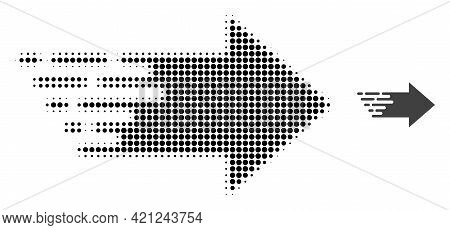 Right Arrow Halftone Dotted Icon Illustration. Halftone Array Contains Round Points. Vector Illustra