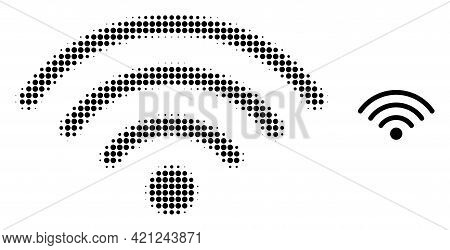 Wi-fi Source Halftone Dotted Icon Illustration. Halftone Pattern Contains Circle Elements. Vector Il