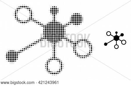 Relations Halftone Dotted Icon Illustration. Halftone Pattern Contains Round Elements. Vector Illust