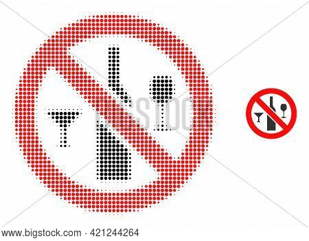 Forbidden Wine Drinks Halftone Dotted Icon Illustration. Halftone Pattern Contains Round Dots. Vecto