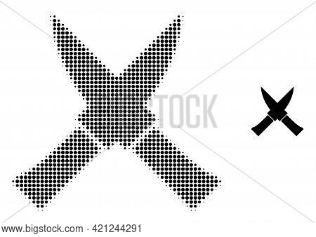 Crossing Knives Halftone Dotted Icon Illustration. Halftone Pattern Contains Circle Pixels. Vector I