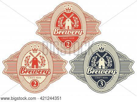 A Set Of Three Beer Labels With Windmill, Laurel Wreath And Inscription Brewery. Vector Red And Blac