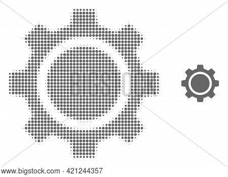Gear Wheel Halftone Dot Icon Illustration. Halftone Array Contains Circle Elements. Vector Illustrat