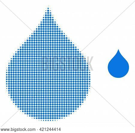 Water Drop Halftone Dotted Icon Illustration. Halftone Array Contains Round Points. Vector Illustrat