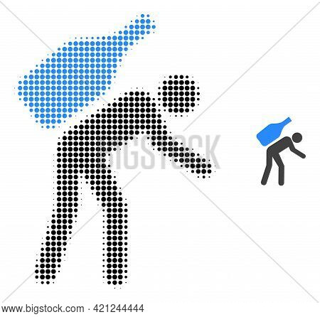 Wine Courier Halftone Dotted Icon Illustration. Halftone Pattern Contains Round Dots. Vector Illustr