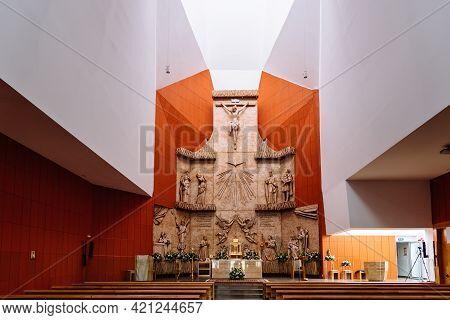 San Sebastian De Los Reyes, Spain - May 15, 2021: Interior View Of San Manuel Gonzalez Church. Relig